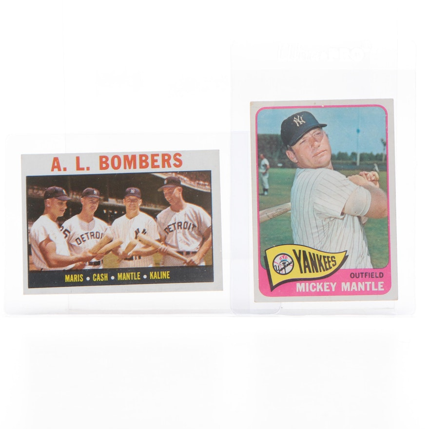 1964 and 1965 Mickey Mantle New York Yankees Topps Baseball Cards