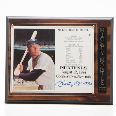 "Mickey Mantle Yankees Signed ""Induction Day"" Photo Print Plaque, JSA COA"