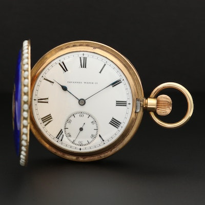 Tavannes Gold Filled Enamelled Hunters Case Pocket Watch With Imitation Pearls