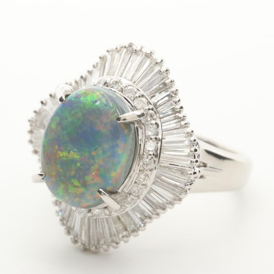 Platinum Opal and 1.71 CTW Diamond Ballerina Ring