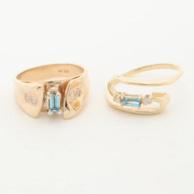 14K Yellow Gold Topaz and Diamond Rings