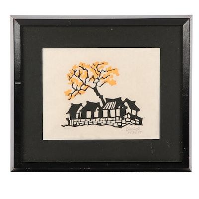 "Vidabeth Bensen Serigraph ""Ginko Tree"""