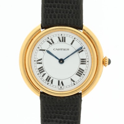 Vintage Cartier Ellipse 18K Yellow Gold Stem Wind Wristwatch