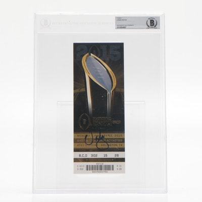 Urban Meyer Ohio State Vs. Oregon Signed National Championship Game Ticket, 2015