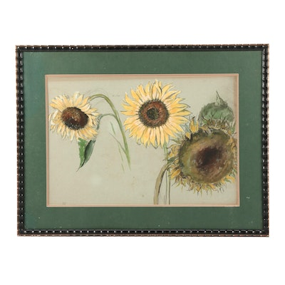 Mary V. Keenan Watercolor Painting of Sunflowers