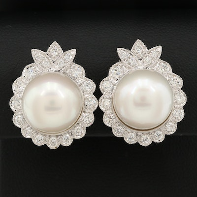 14K White Gold Cultured Pearl and 1.95 CTW Diamond Earrings