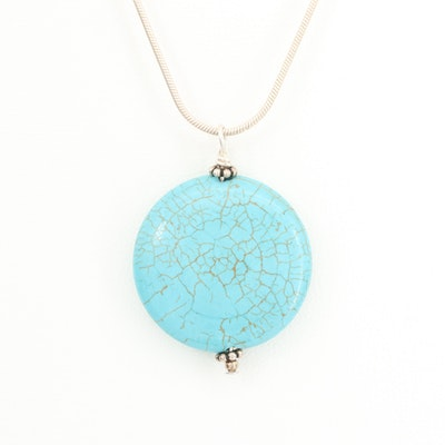 Southwest Style Magnesite Pendant with Sterling Silver Chain