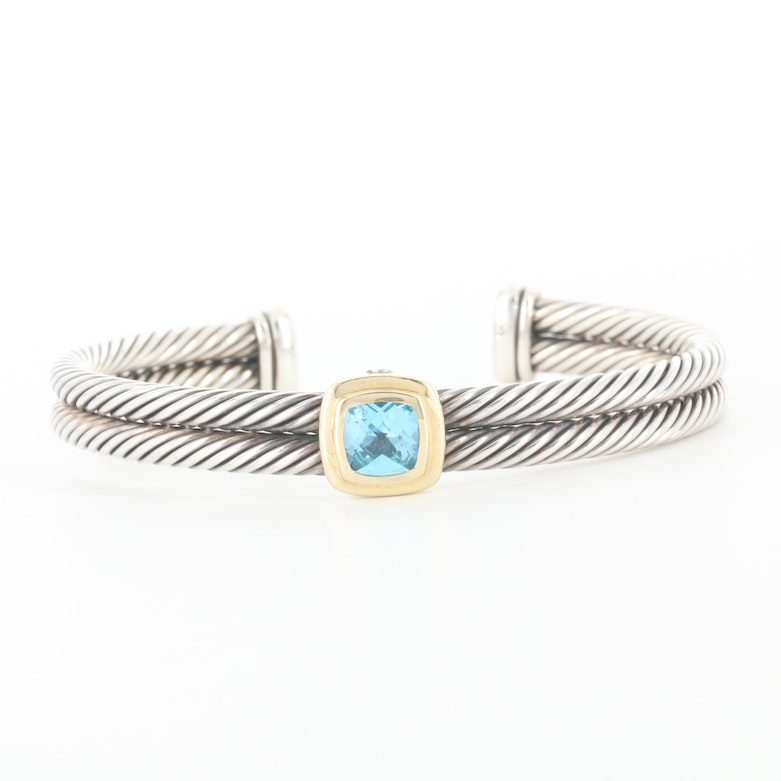 David Yurman Cable Collection Sterling Topaz Bracelet and 14K Gold Accents