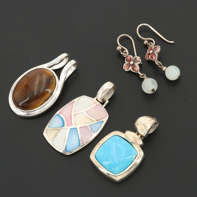 Sterling Silver Tiger's Eye and Turquoise Pendants and Mother of Pearl Earrings