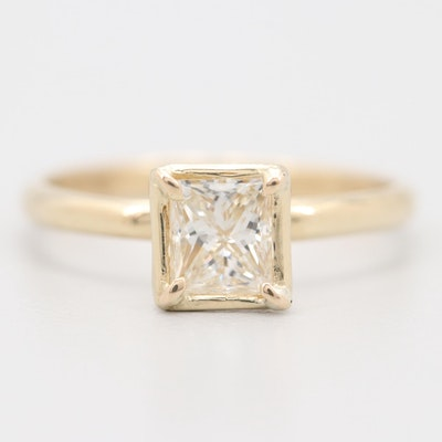 14K Yellow Gold Princess Cut Diamond Solitaire Ring