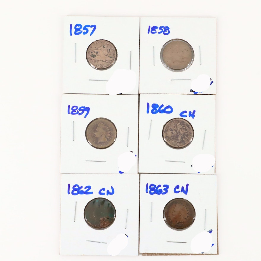 Six Flying Eagle and Early Indian Head Cents