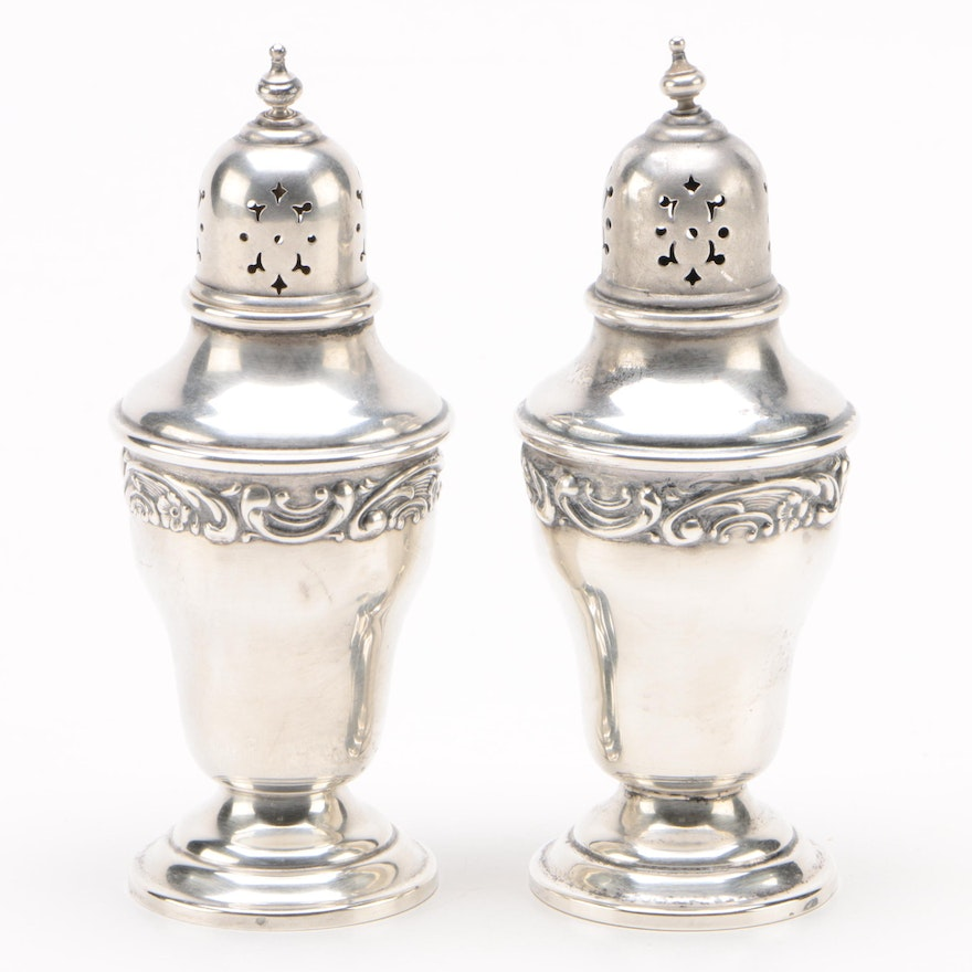 "Gorham ""Rose Scroll"" Sterling Silver Salt and Pepper Shakers"