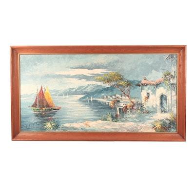Oil Painting of Mediterranean Harbor Scene