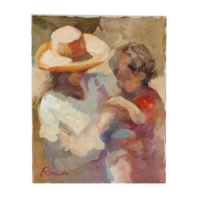 Sally Rosenbaum Figural Oil Painting of Mother and Child