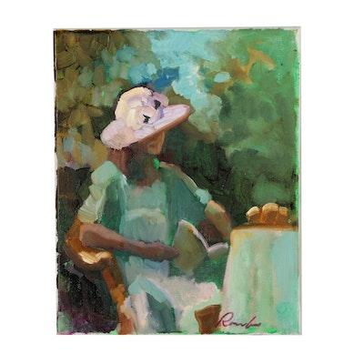 Sally Rosenbaum Figural Oil Painting of Seated Woman