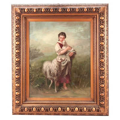 "Copy Oil Painting After Adolf Eberle ""Girl with Sheep"""