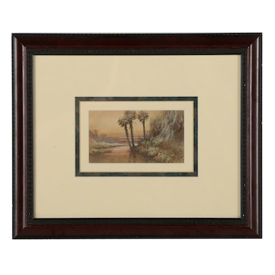 Late 20th Century Landscape Watercolor Painting of Tropical Sunset