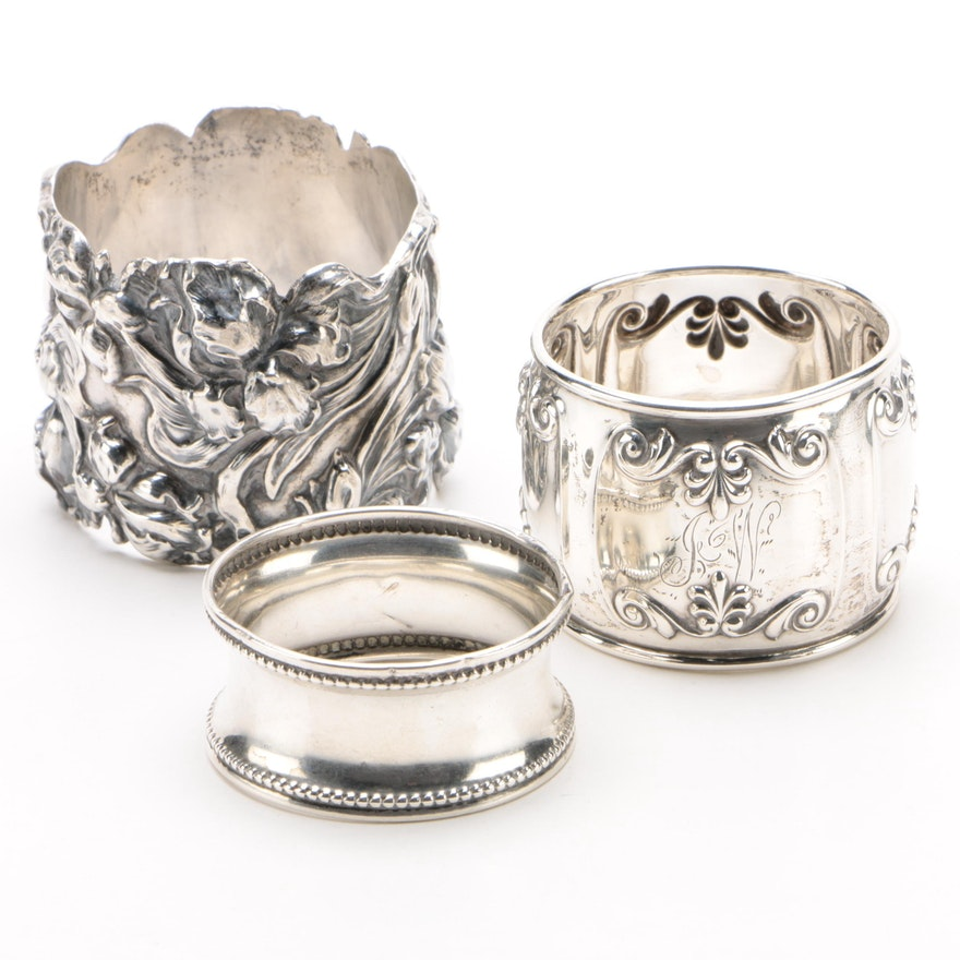 Sterling Silver Napkin Rings Including Gorham and Docker & Burn Ltd., Vintage