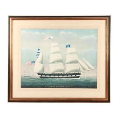 """Lithograph After Petrus Weyts """"Saxony of Boston. Nelson Scudder Commander 1842"""""""