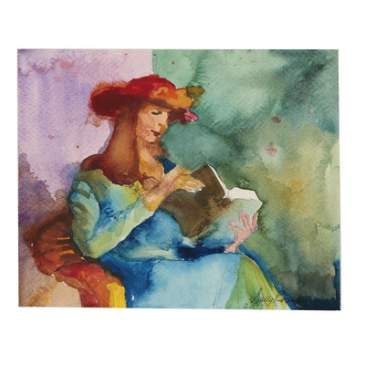 Sally Rosenbaum 2017 Watercolor Portrait of Woman Reading