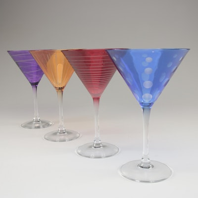 "Mikasa ""Cheers"" Etched Colored Martini Glasses"