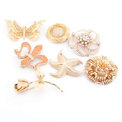 Vintage Costume Brooches Featuring Boucher, Giovanni and Barclay
