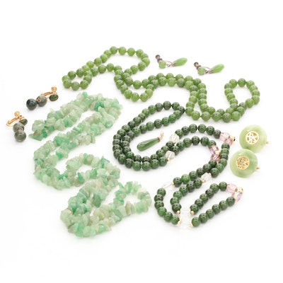 Aventurine and Serpentine Beaded Necklaces and Earrings with 14K Yellow Gold