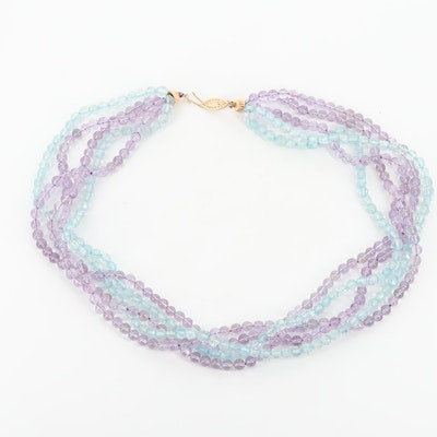 14K Yellow Gold Amethyst and Aquamarine Five Stranded Necklace