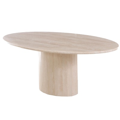 Italian Travertine Marble Dining Table on Faceted Pedestal Base, Late 20th C.