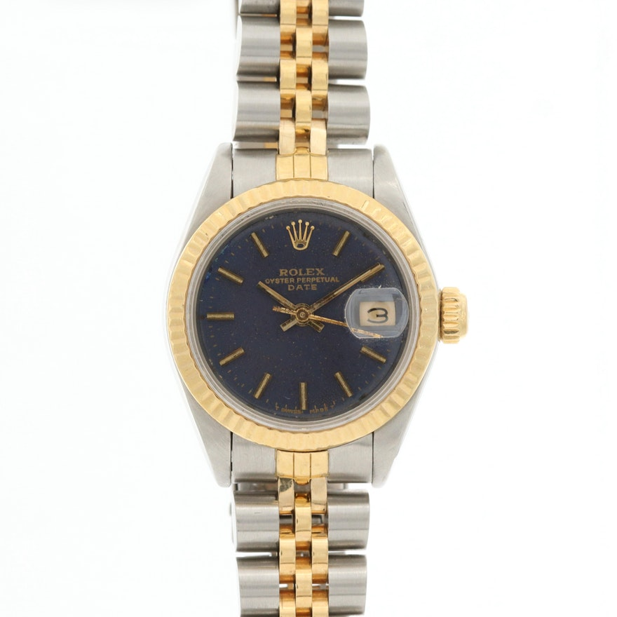 Rolex Oyster Perpetual Date 18K Gold and Stainless Steel Automatic Watch, 1984