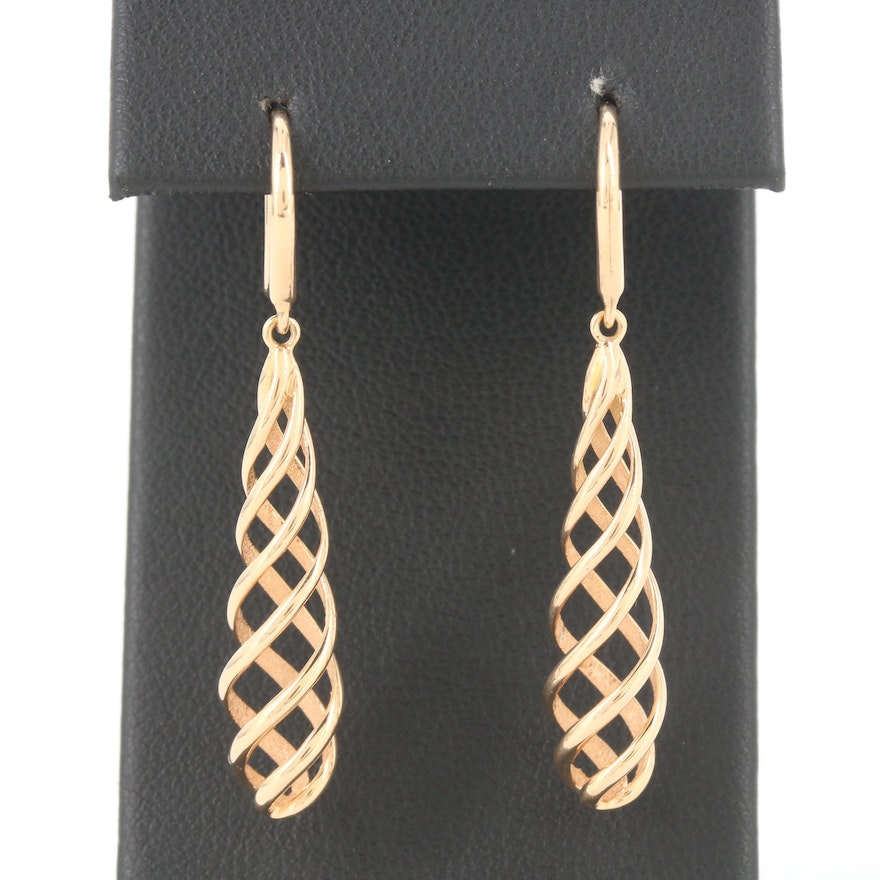 """Paloma Picasso for Tiffany & Co """"Venezia Luce"""" 18K Yellow Gold Spiral Earrings"""
