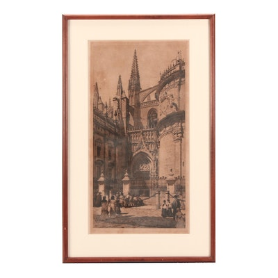 """Axel Herman Haig 1884 Drypoint Etching """"A Corner of Seville Cathedral"""""""