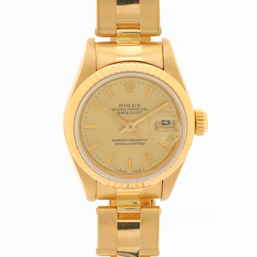Rolex Datejust 18K Yellow Gold Automatic Wristwatch