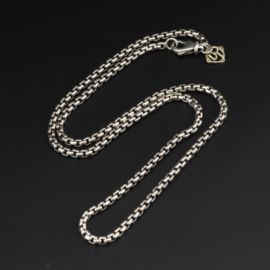 David Yurman Sterling Silver Chain with 14K Yellow Gold Logo Tag