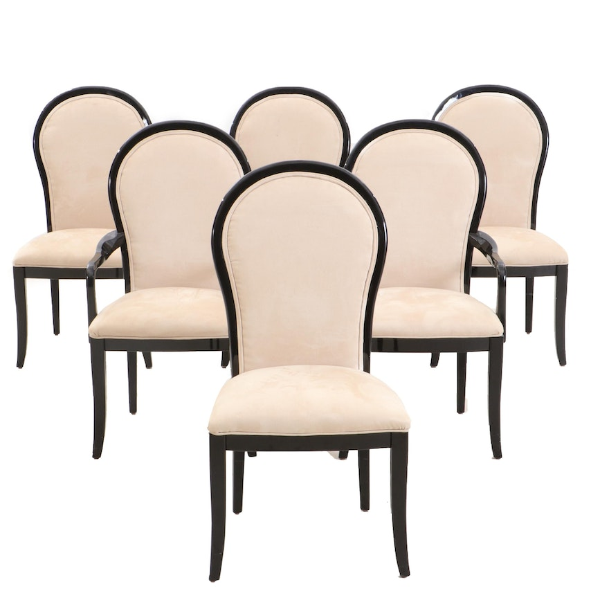Six Black Lacquered Dining Chairs by Century