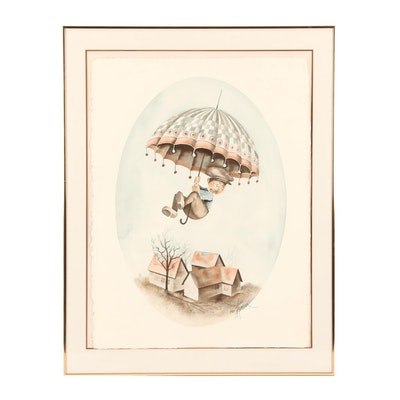 Anni Moller Whimsical Watercolor Painting of Boy with Umbrella