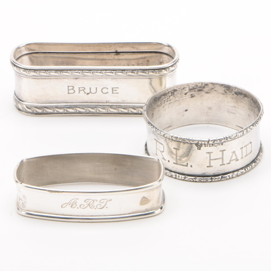 Sterling Silver Napkin Rings by Gorham, Lunt Silversmiths, and Webster Silver