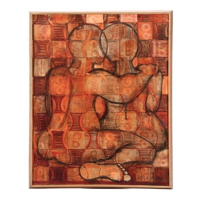 Alfred Kelley Abstract Oil Painting of Figures and Patterns