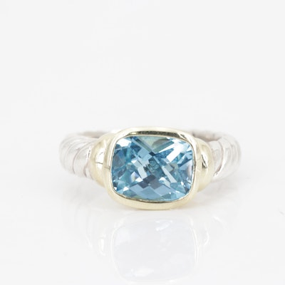 David Yurman Sterling 3.45 CT Blue Topaz Ring with 14K Yellow Gold Accents