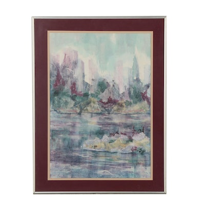 Rostain Abstract Watercolor and Paper Pulp Painting of Cityscape