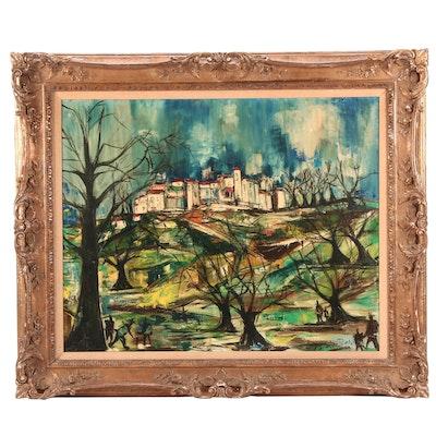 Mid Century Modern Style Oil Painting of Urban Landscape