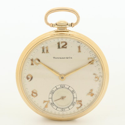 Vintage Hamilton For Tiffany & Co. 14K Gold Open Face  Pocket Watch, 1950