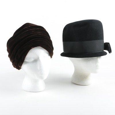 Brown Velveteen Turban and Black Velour Cloche Hat with Grosgrain Bow, Vintage