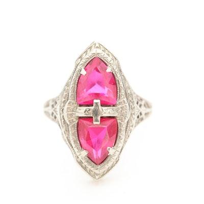Art Deco 14K White Gold Ruby Ring