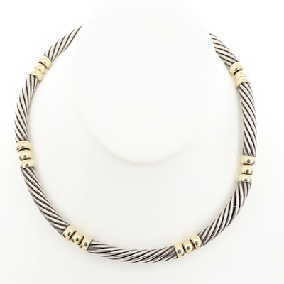 David Yurman Sterling Silver and 14K Yellow Gold Necklace