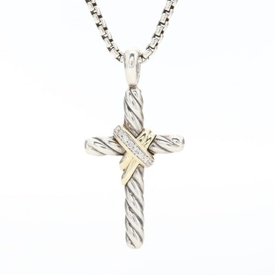 David Yurman Sterling Silver Diamond Cross Necklace with 14K Yellow Gold Accents