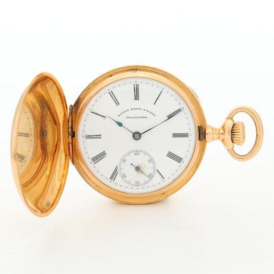 Antique Patek Philippe For Bailey, Banks and Biddle 18K Gold Pocket Watch