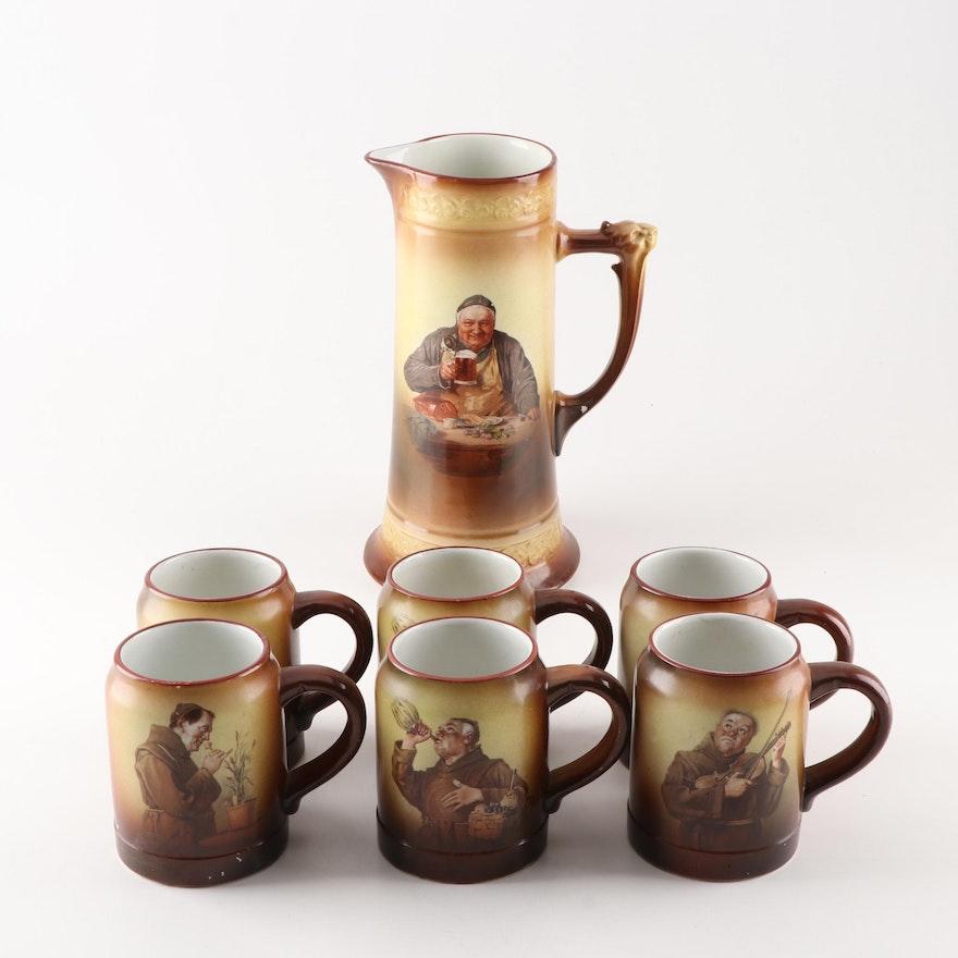 American Earthenware Monk Decorated Tankard and Mugs, Circa 1900
