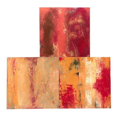 Abstract Acrylic Painting Triptych