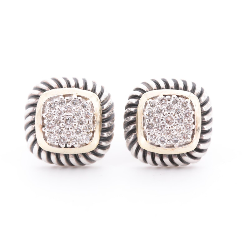 <b>David Yurman</b> Sterling Silver Diamond Pavé Earrings with 18K Yellow Gold Accent